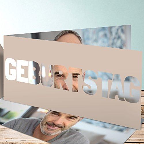 Geburtstagseinladungen online gestalten, Geburtstag 35 Karten, Horizontale Klappkarte 210x100 inkl. weiße Umschläge, Braun