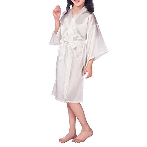 VENIMASEE Kindermädchen Pure Farbe Seidig Satin Kimono Robe -