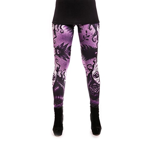 Vixxsin Ombra Leggings Donna Multi Viola Allover Stampa Goth Punk Emo Black M