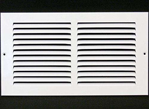 30,5cm W x 10,2cm H Stahl Return Air Strand-Seitenwand und CIELING-Klimaanlage Duct Cover-Weiß [Außenmaß: 34,9cm W x 14,6cm H] -