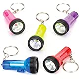 Baker Ross Mini Torch Keyrings (Pack Of 6) For Kids Party Bag - Batteries Included