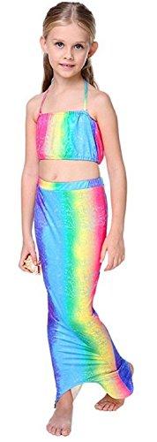 Größe 120-7-8 Jahre - Badeanzüge - Kleine Meerjungfrau - Geführt für Mädchen - Mehrfarbig - Bestehend aus Shorts und Offenem Schwanz