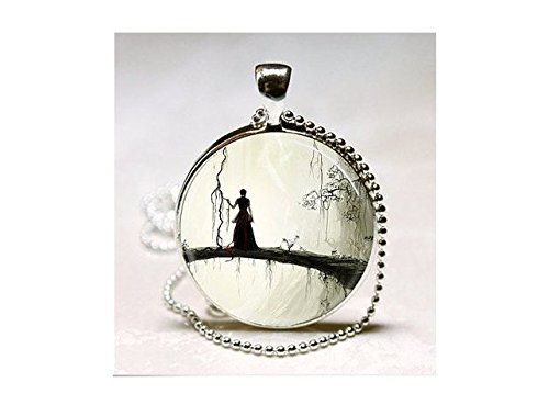 y Frau Silhouette Enchanted Forest Fantasy Art Halskette ()