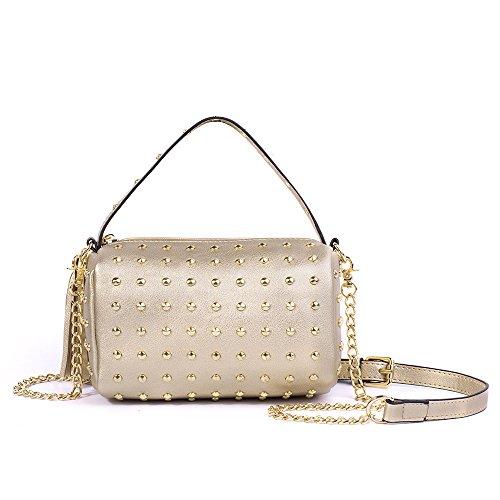 Meoaeo Mini Tasche Kette Nieten Kissen Pack Portable Schulter Messenger Bag Braun Golden