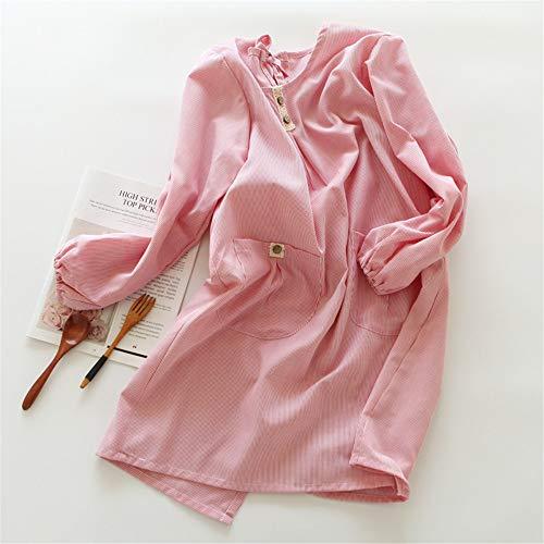 YXDZ Baumwolle Winter Zu Hause Küche Langarm-Schürze Männer Und Frauen Koreanische Mode Overalls Anti-Wear-Kleid Taille Roten Nadelstreifen -