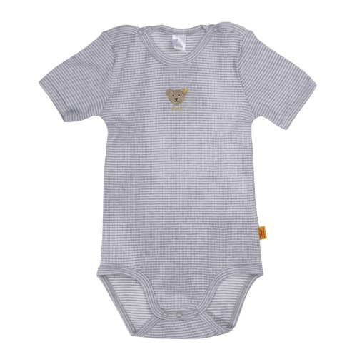 Steiff Unisex - Baby Body 008643 1/2 Arm, Gestreift, Gr. 92, Grau (Light Gray Melange)