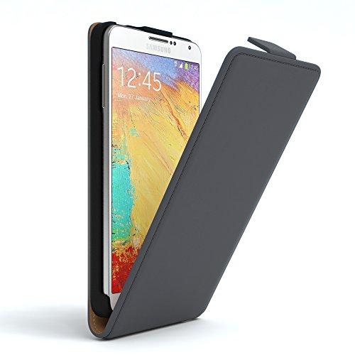 Samsung Galaxy Note 3 Neo Hülle - EAZY CASE Premium Flip Case Handyhülle - Schutzhülle aus Leder zum Aufklappen in Anthrazit Anthrazit