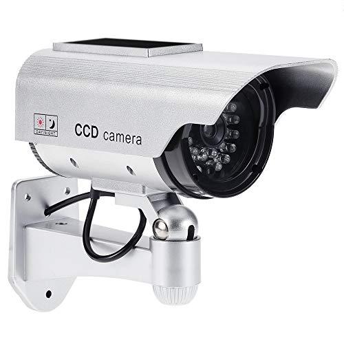 KKmoon Telecamera Finta CCTV per Esterno Simulazione Telecamera Falso Manichino Bullet Camera Impermeabile Energia Solare con LED Lampeggiante IR (Finto) per Sistema di Sicurezza