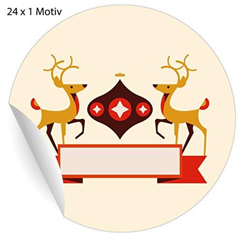 (24 klassische Vintage Retro Weihnachts Aufkleber mit Hirschen um Beschriften, beige, MATTE universal Papieraufkleber für Weihnachts Geschenke, Etiketten für Tischdeko, Pakete, Briefe und mehr (ø 45mm)