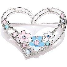 CHIC 4028/3 - Broche de mujer de rodio (bañado) con 12 cristales