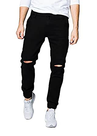 oiin Men's Denim Slim Fit Ripped Jogger Jeans(Charcoal Black_28)