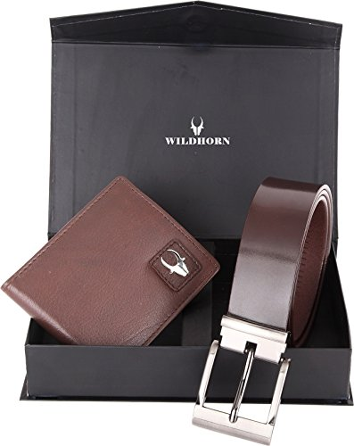wildhorn brown men's leather free size belt & wallet combo WildHorn Brown Men's Leather Free Size Belt & Wallet Combo 41nKK0TVlnL