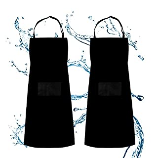 SS SHOVAN Apron, Adjustable Bib Apron Waterdrop Resistant with 2 Pockets Cooking Kitchen Gardening BBQ Aprons, 2 Pack Black, for Women Men Chef
