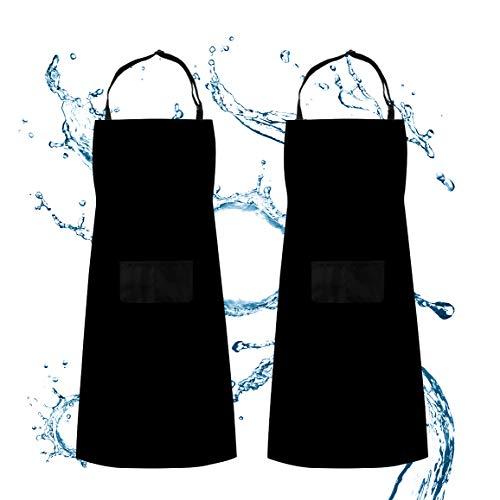 SS SHOVAN Schürze, 2 Pack Küchenschürze Verstellbare Wasserdicht beständig mit 2 Taschen Kochen Küche Garten BBQ Schürzen, Schwarz, für Frauen Männer Chef -