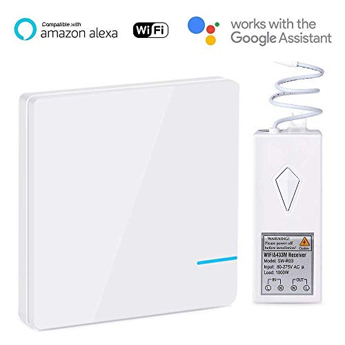 Smart Alexa Lichtschalter Funkschalter, Draadloze afstandsbediening WiFi Switch Kits, Werkt met Amazon Echo Alexa en Google Home, overal installeren, geen bedrading, geen scheurmuren voor lampen