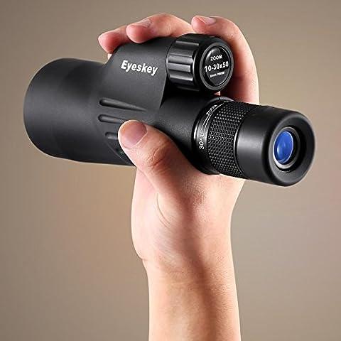WY Télescope Monoculaire à Zoom Continu 10-30x50 Télescope Mobile à Gros Calibre Haute Puissance Et Grand Calibre,Noir