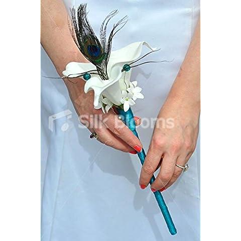 Gorgeous White-Calla artificiale, Stephanotis e piume di pavone, fiori-Bacchetta magica