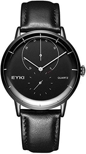 Herren Armbanduhr Leder Schwarz, Herren Uhren Minimalismus Quarz Analog Herrenuhr E1096L
