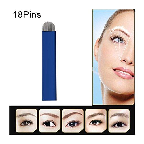 Pinkiou Pack de 50Pcs sourcils aiguilles de tatouage en acier inoxydable Microblading Pen aiguilles lame de maquillage permanent jetable (18 broches)