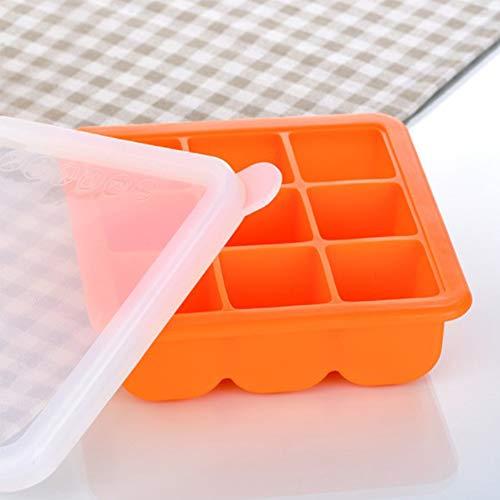 Gefrierschrank Lagerung Von Lebensmitteln (RANRANHOME Eisschale Schimmel Lebensmittel Lagerung Gefrierschrank 9 Eiswürfel,Orange)