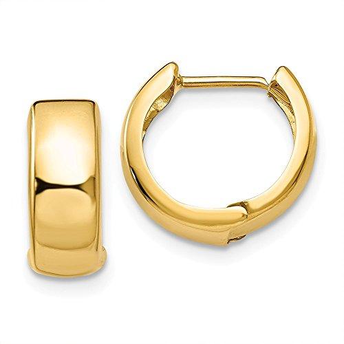 Damen-Creolen 14 Karat Gelbgold klein Scharnier (Kleine Gold 14kt Creolen)