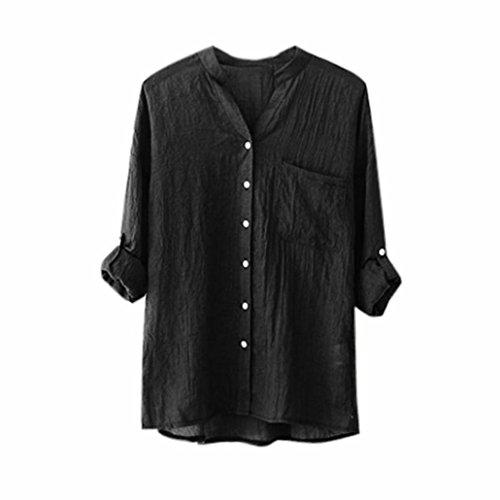Forh Frau Baumwolle Einfarbig Lange Hülse Stehkragen Hemd Beiläufig Lose Bluse Taste Unten Tops (M, Schwarz) (Baumwoll-leinen-taste)