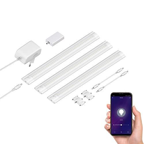 ledscom.de Smarte LED Unterbau-Leuchte SIRIS weiß matt mit WLAN-Controller, flach, Smart-Home, Alexa-fähig (Echo) je 30cm, 250lm, warm-weiß, dimmbar, 3er Set