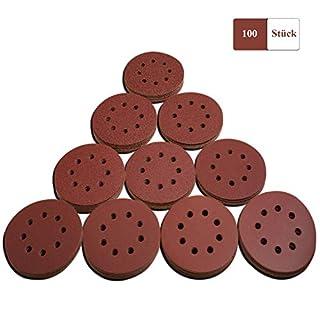 Schleifscheiben, TACKLIFE 125mm Schleifblätter, 100-teilig Klett Schleifpapier rund, je10x40/60/80/100/120/150/140/240/320/400 Körnung, 8 loch-ASD06C