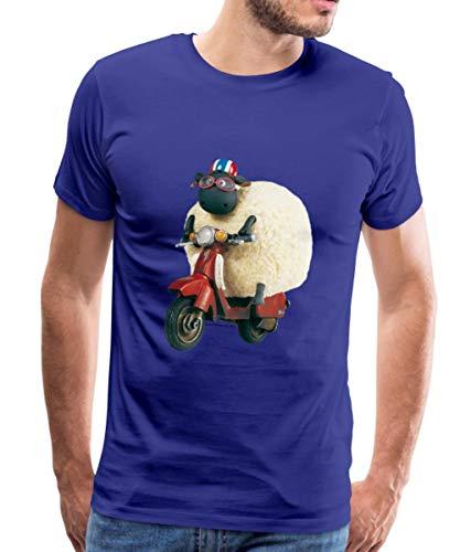 Spreadshirt Shaun Das Schaf Shirley Auf Roller Männer Premium T-Shirt, L, Königsblau