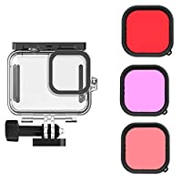 For GoPro Hero 9 Black Underwater Waterproof Case + Tri-Color Filter ,Diving Protective Cover Housing Mount Accessories For Go Pro 9 Black