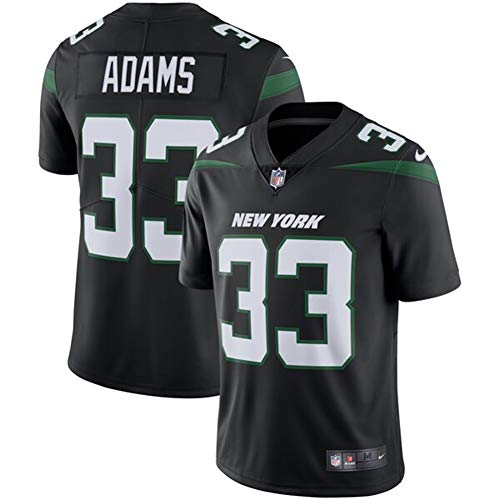 Majestic Athletic NFL Football Jersey Jet Team 33# Adams T-Shirt Bequem und Atmungsaktiv Trikot,Black,Men-XXXL