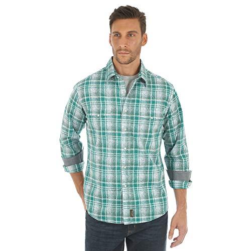 Vintage Wrangler Western Shirt (Wrangler Herren Retro Two Pocket Long Sleeve Snap Shirt Hemd, grün/weiß, Klein)