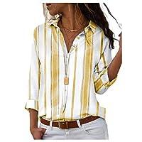 DressU Women Loose Long Sleeve Lapel Collar Striped Blouse Tunic Tops Yellow XL
