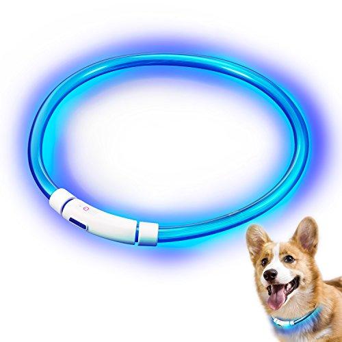 Hunde Leuchthalsband LED, Rymall Hundehalsband Leuchtband Leuchtschlauch Blink Hundehalsband 60cm, aden per USB, 3 Modell Blink, von Fashion&Cool (Led-hundehalsband Usb Aufladbare)