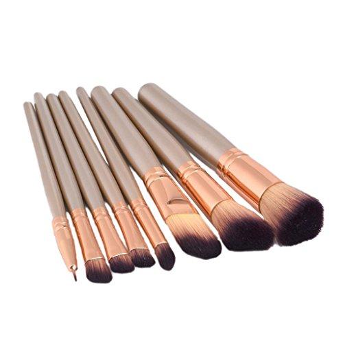 MagiDeal Lot 8pcs Brosse de Maquillage Cosmétique Pinceau de Blush Brush Fond de Teint Fondation de Poudre Ombre à Paupières - Brosses Make-up Set Anti-Cerne