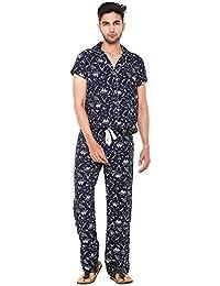 Twist Men's Viscose/Rayon Printed Traditional Pyjama Set Sleepwear Nightwear