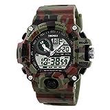 Relojes Hermosos, Hombre Reloj Deportivo Reloj de Pulsera Cuarzo Japonés LCD Calendario Resistente al Agua Dos Husos Horarios alarma CronómetroAcero ( Color : Camuflaje de color , Talla : Una Talla )