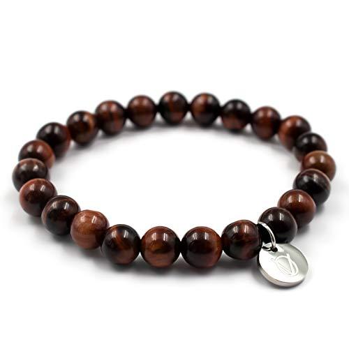 OLE VILLADIS | Lava-Armschmuck für Männer und Frauen mit elastischem Gummiarmband | Naturstein-Perlen-Armband für Herren und Damen aus marmoriertem Gestein | 8 mm x 185 mm | Costa Dominica