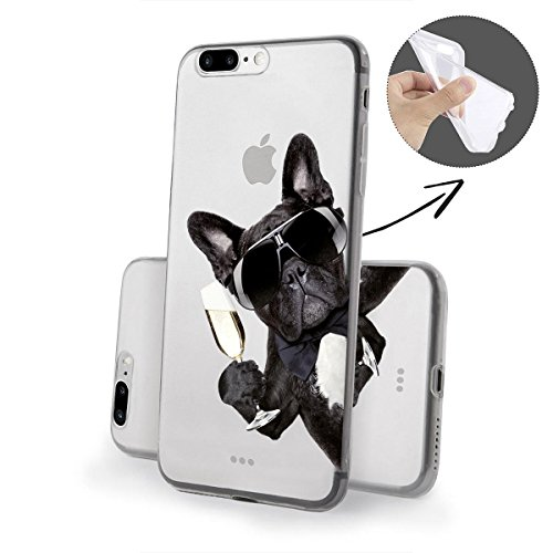finoo   iPhone 8 Plus Weiche flexible Silikon-Handy-Hülle   Transparente TPU Cover Schale mit Motiv   Tasche Case Etui mit Ultra Slim Rundum-schutz   Cute but psycho Hund mit Sekt von der Seite