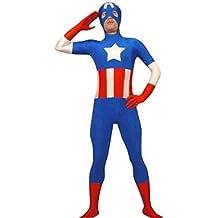 Capitán América SuperSkin Traje adulto Unisex - hombres y mujeres segunda piel   Ropa Onesie Zentai Halloween Lycra barato Talla:small