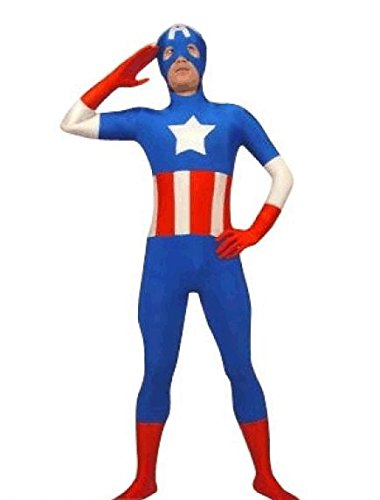 Captain America SuperSkin Costume - Adult Unisex Men & Women Second Skin | Zentai Onesie Clothing Outfit Halloween Lycra Cheap (Medium)