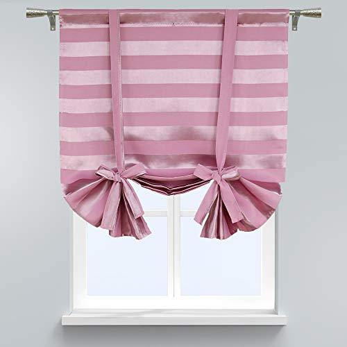 SCHOAL Raffrollo Tunnelzug Blickdichte Raffgardine mit Querstreifen Gardine Küche Kleinfenster HxB 160x116 cm Rosa