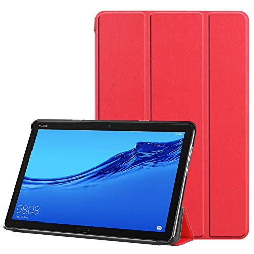 Faltbar Stand Leder Hülle für Huawei MediaPad T5, 10-Zoll Folio PU Ultra Slim Fit Schutz Auto Schlaf/Wach Magnetisch Flip Tablette Fall für Media Pad T5 10.1 2018 Schale mit Ständer (Rot) -