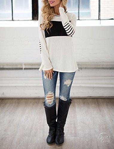 Blooming Jelly Frauen Damen Pullover Jumper Oberteil Gestreifte Streifen Bluse für Damen mit Reglan Ärmel & Ellenbogen Pads Casual Weart T Shirt Damen Weiß