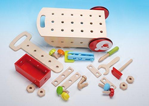 Werkzeugwagen/Werkzeug-Trolly inkl. Zubehör aus Holz / Maße: 40 x 10 x 20 cm / für Kinder ab 3...
