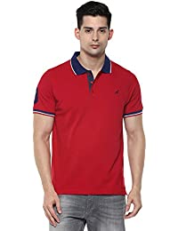AMERICAN CREW Men's Plain Regular Fit Polo (AC021R_Red_Large)