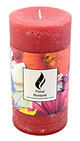 Rustic Style Pillar Candle - Floral Bouquet Fragrance