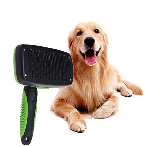 wiffe Pet Zupfbürste Fellpflege Bürste Edelstahl Haar entfernen selbst reinigen Hunde lange (Slicker Bürste Grooming)