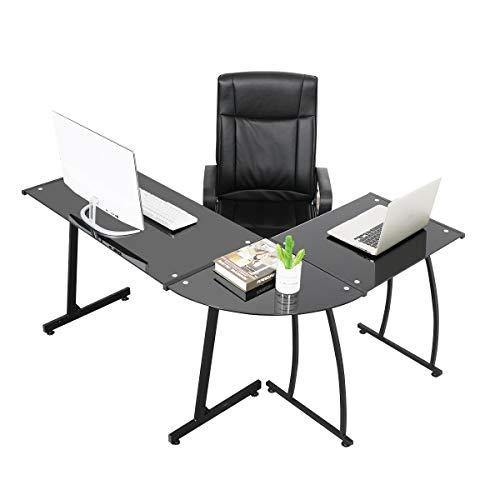 Coavas Escritorio en L Mesa de Ordenador Esquinero para Despacho Habitación Juvenil o Estudio para Hogar u Oficina Esquinero Color Negro (Cristal Negro)