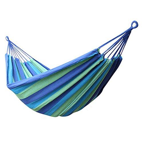 Ducomi® Siesta -Komfortable Hängematte in stabiler Baumwolle Leinwand 180 x 85 cm für Ihre Erholung im Freien, ideal für Garten, Terrasse, Balkon und Camping (Blau) (Knoten Leinwand)